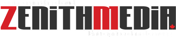 Zenith Media Canada White Logo with Slogan