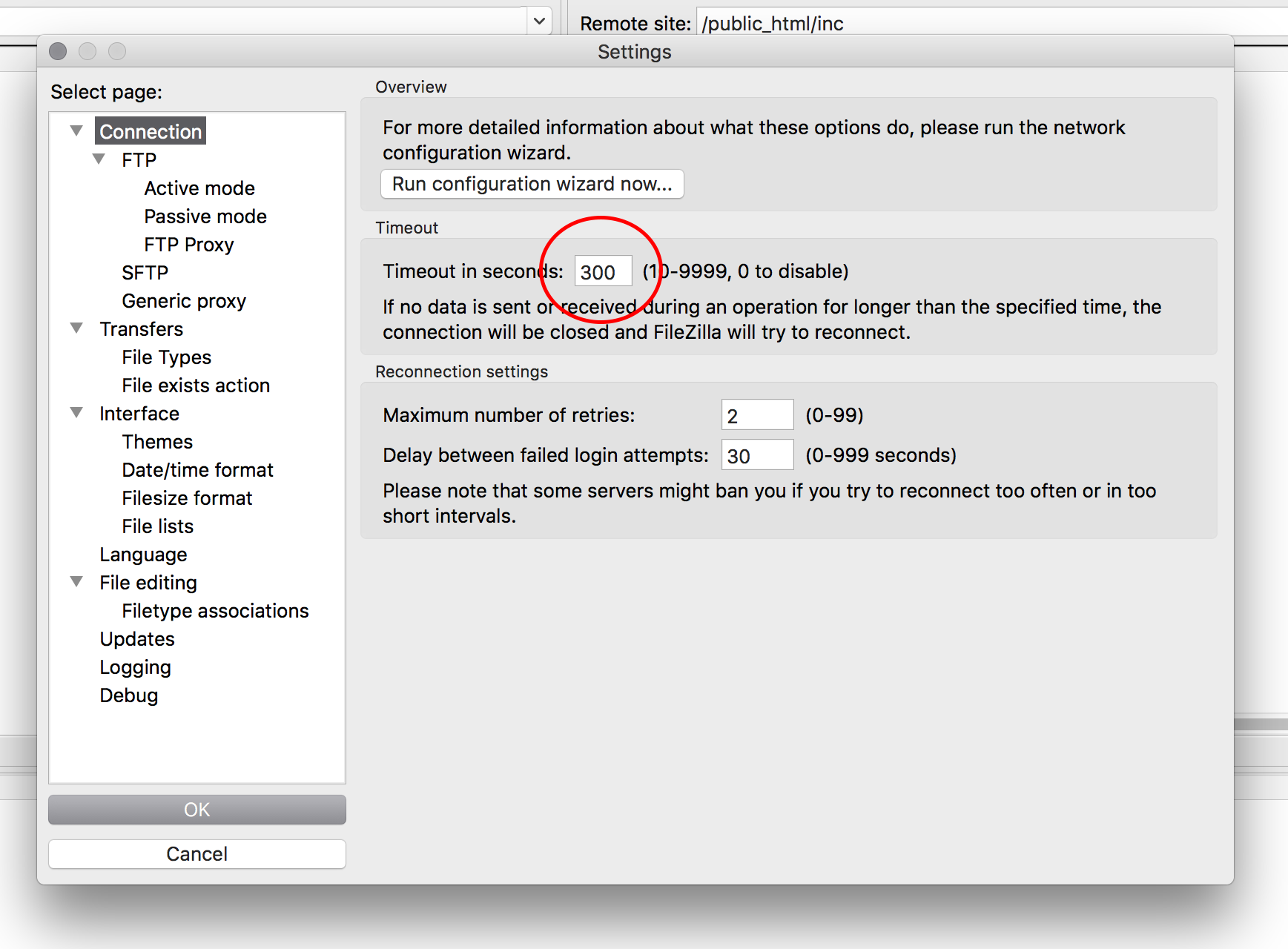 Filezilla general settings